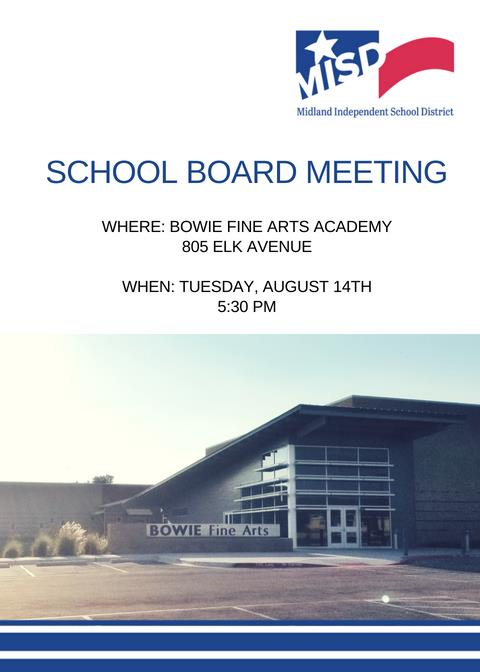 School Board Meeting Tuesday, August 14th
