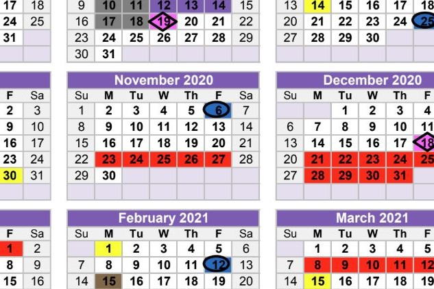 Proposed Student Calendar for 2020-21