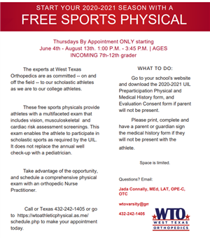 Free Physical Information for the 2020-2021 School Year