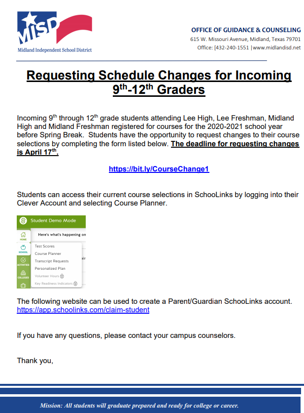9th Grade Course Change Request