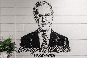Bush Elementary honors president with murals, video