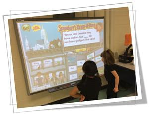 1st grade playing on the SMART board