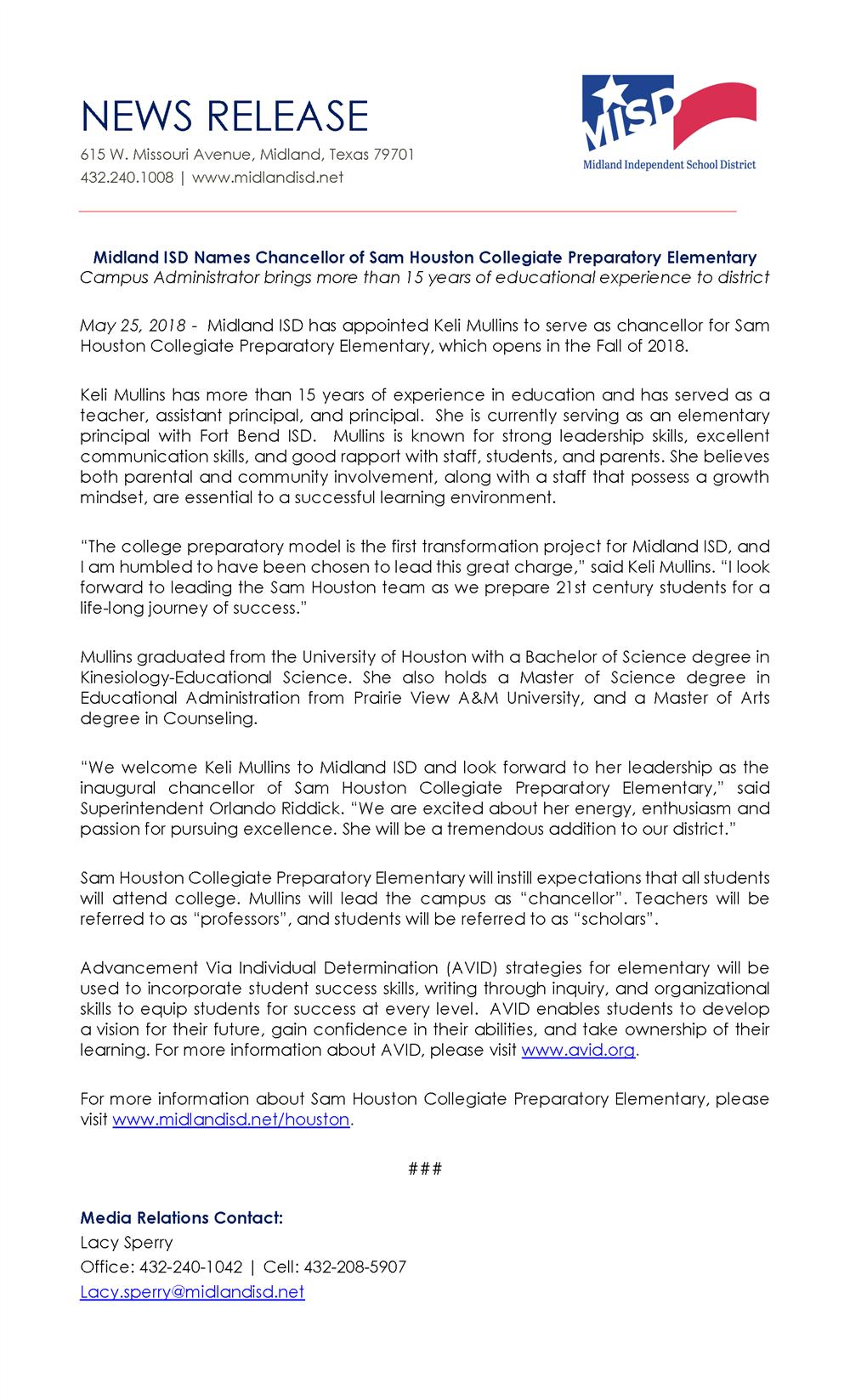 Midland ISD Names Chancellor of Sam Houston Collegiate