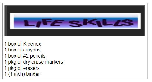 K2 Life Skills supply list