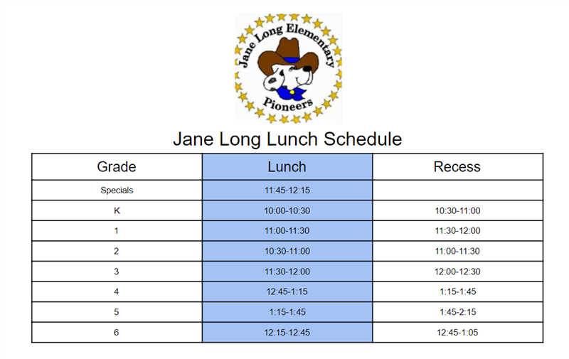 2019-2020 Lunch Schedules