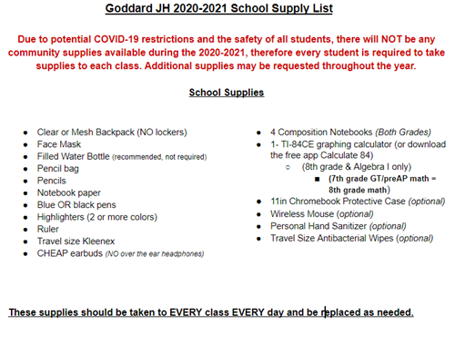 goddard supply list 2020-21