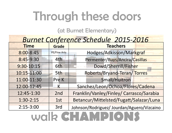 Teacher Conf Schedules